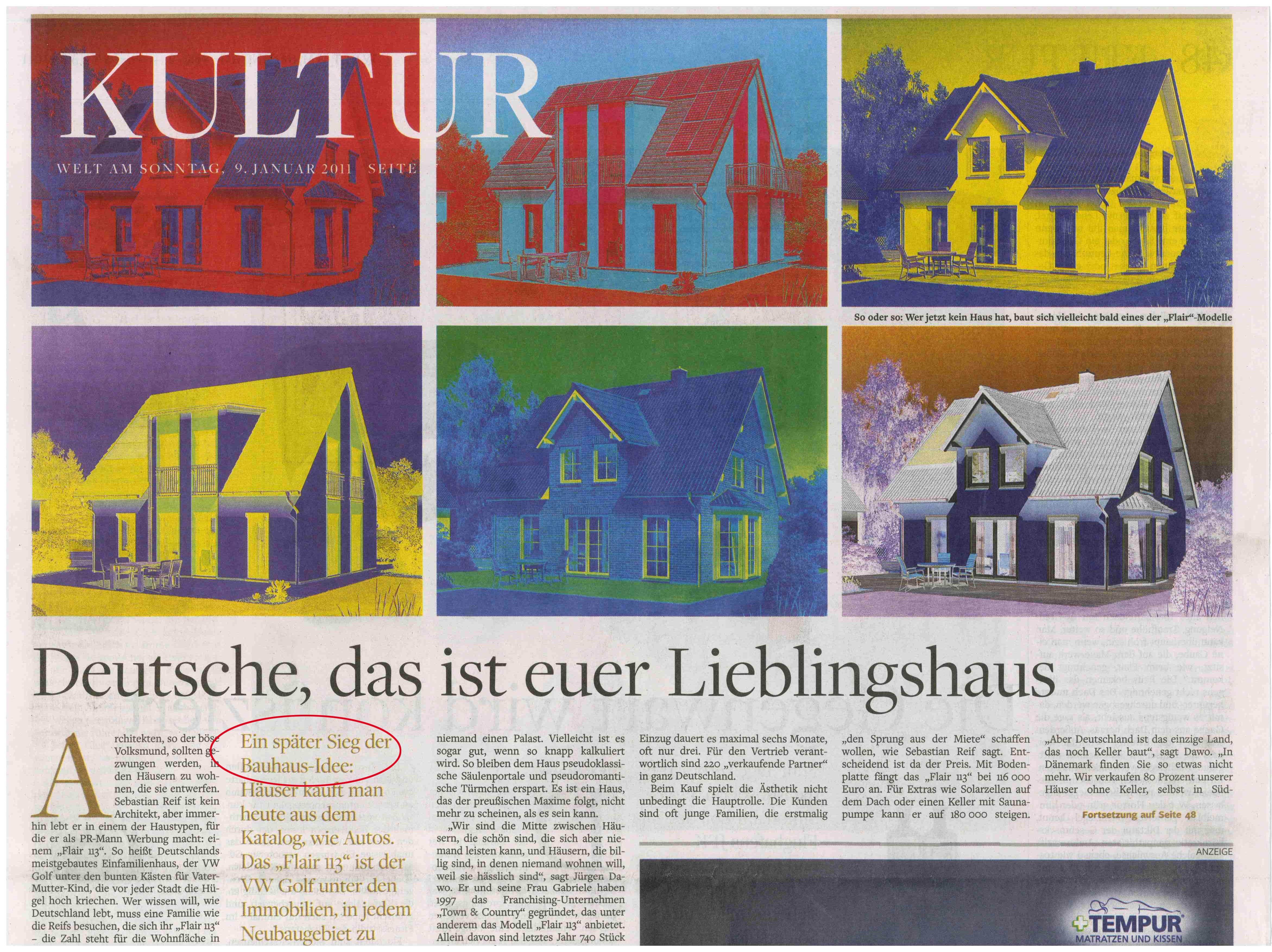 Die Welt am Sonntag schreibt am 9.1.2011, über Town und Country und das meistgekaufte Haus – Flair 113