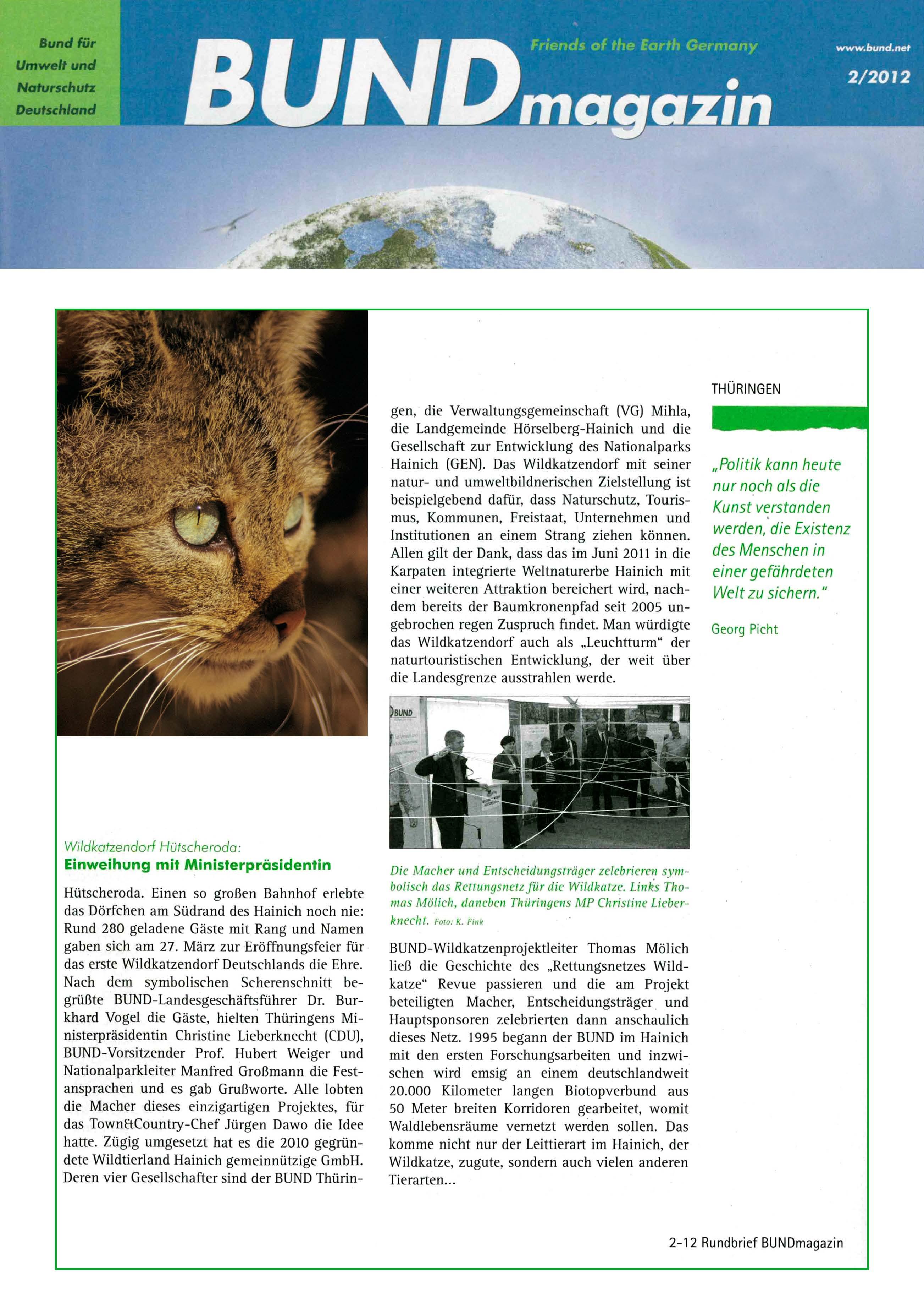 Eröffnung des ersten Wildkatzendorfes am Nationalpark Hainich