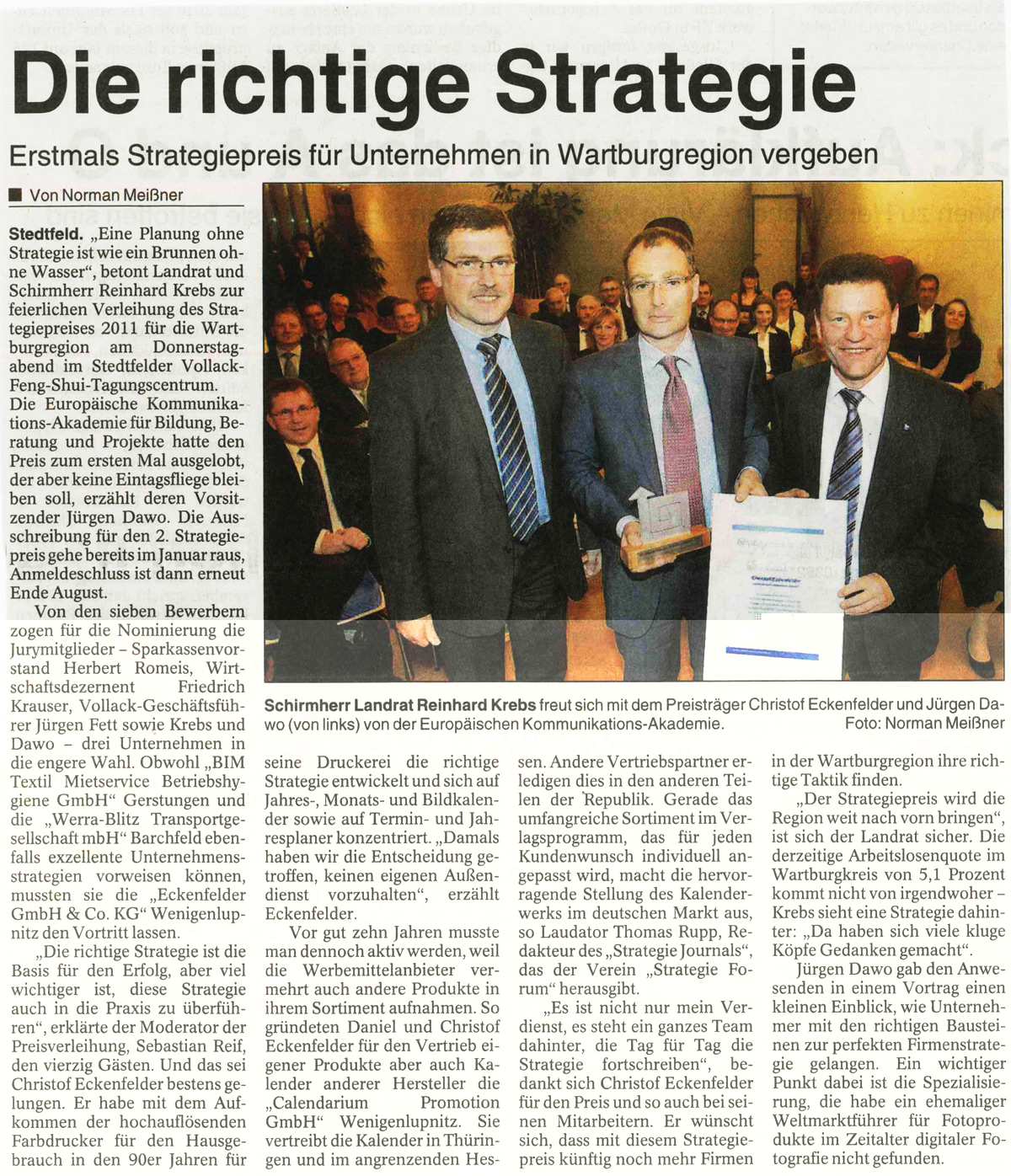 Strategiepreis 2012 der Wartburgregion